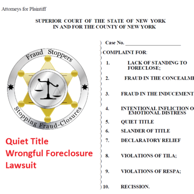 Quiet Title Wrongful Foreclosure Lawsuit
